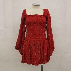Free People Two Faces Red Floral Mini Dress BNWT